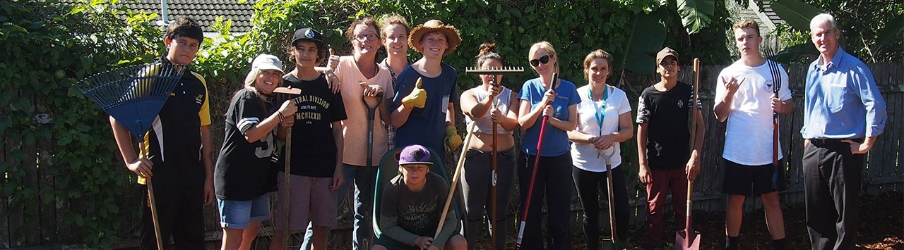 Our gardening team after planting our new sustainable garden.